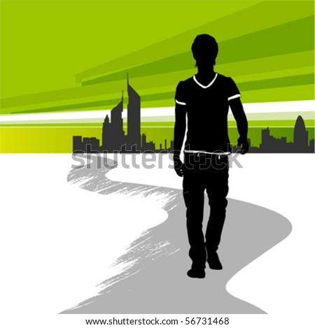 running man in the city - stock vector