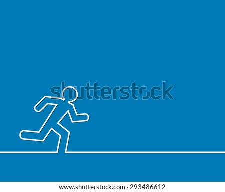running man outline abstract background - stock vector