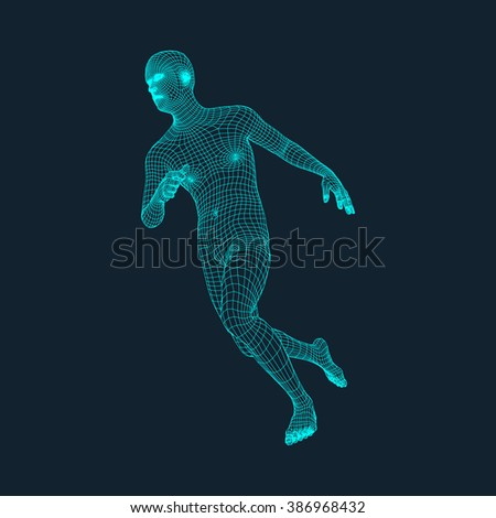 Running Man. Polygonal Design. 3D Model of Man. Geometric Design. Business, Science and Technology Vector Illustration. 3d Polygonal Covering Skin. Human Polygon Body. Human Body Wire Model.
