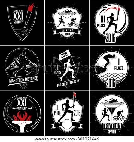 Running man silhouette. Triathlon, active fitness logo, icons. Exercise and athlete logo. Athletics logo sign. Athlete with the torch silhouette. Athlete running with the flag sign. - stock vector