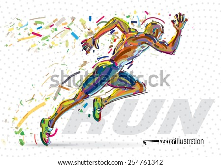 Running man. Vector artwork in the style of paint strokes - stock vector