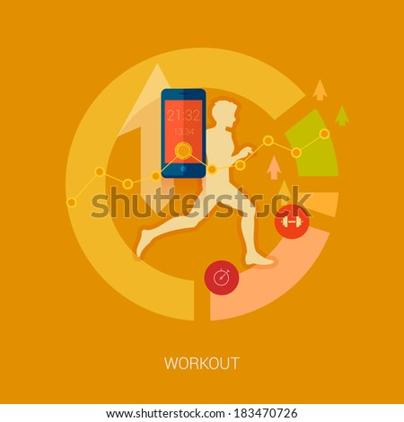 Running man vector illustration. Sporting person, workout, training and real time achievement analytic tracking through smartphone apps modern flat design icons concept. - stock vector