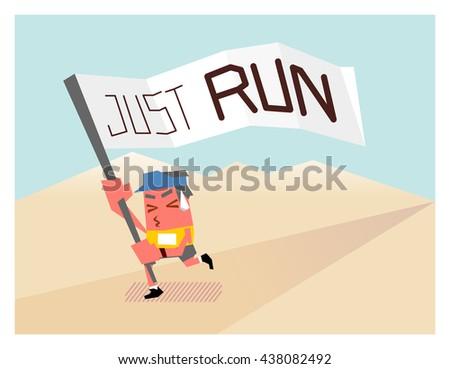 Running marathon. Flat vector illustration. - stock vector