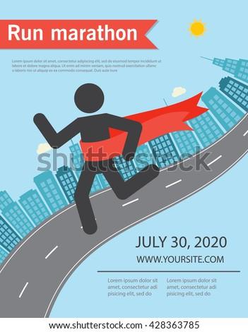 Running Marathon Poster Flyer Red Ribbon Stock Vector 2018