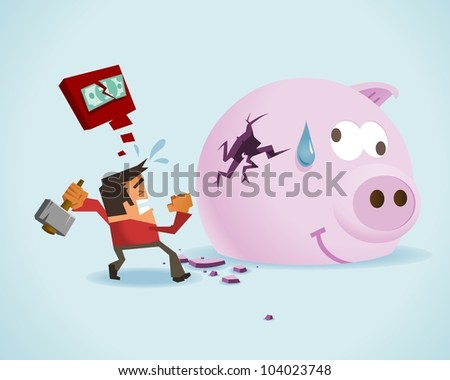 Running out of money. Vector illustration