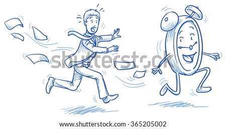 Running out of time - stressed business man chasing a clock. Hand drawn vector cartoon doodle illustration - stock vector