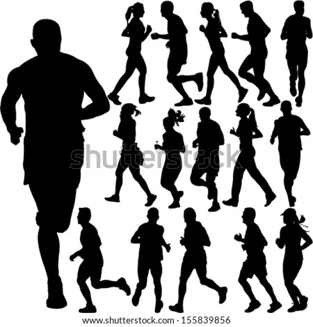 running people collection - vector - stock vector