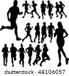 running people set vector - stock vector