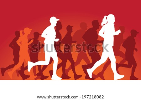 Running people silhouettes. Vector Illustration - stock vector
