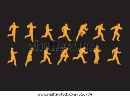 Running poses in sillhouette - stock vector