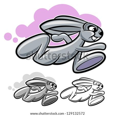 running rabbit cartoon character isolated on white - stock vector