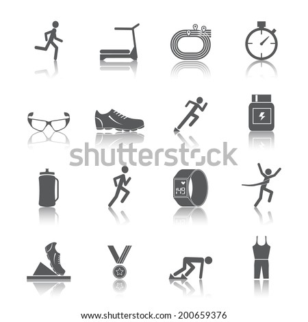 Running race sport activity black silhouette icons set isolated vector illustration - stock vector