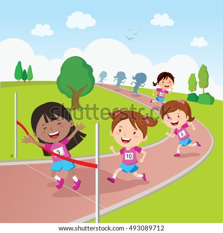 Running race. Vector illustration of students in a running competition.