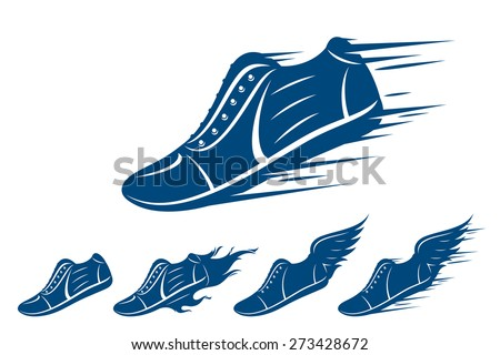 Running shoe icons, sneaker or sports shoe with wings, motion and fire trails isolated on white - stock vector