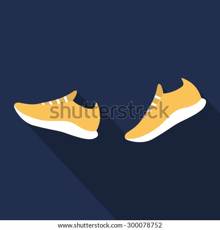 Running shoes. Sport shoes. Flat design. Vector illustration - stock vector