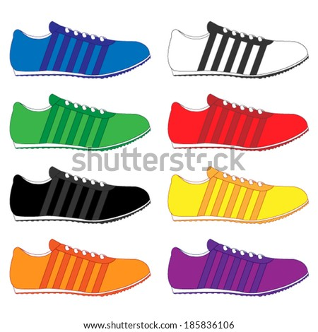 Running Shoes with Stripes in Different Colours Blue White Green Red Black Yellow Orange Purple - stock vector