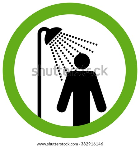 Running shower. Sign notifying that you can provide the body hygiene taking water treatments. - stock vector