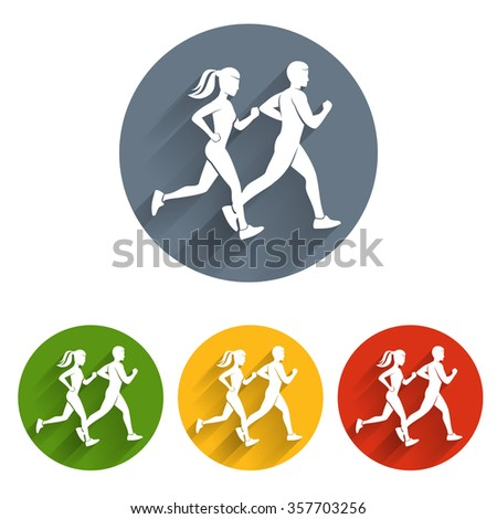 Running silhouettes icon - stock vector
