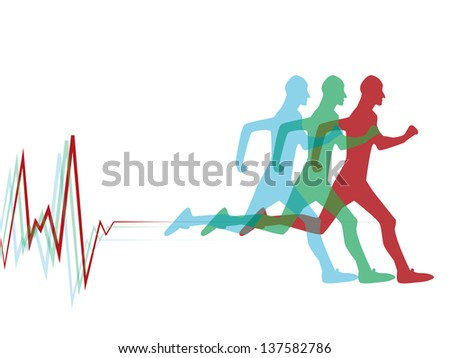 Running silhouettes, pulse - stock vector