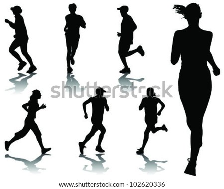 Running silhouettes-vector - stock vector