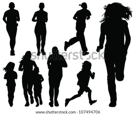 Running silhouettes 2-vector - stock vector