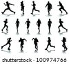 Running silhouettes with shadows 5-vector - stock vector