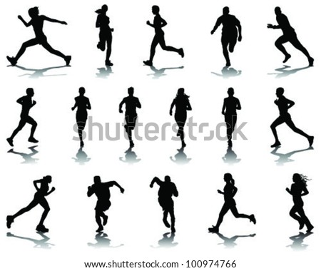 Running silhouettes with shadows 5-vector