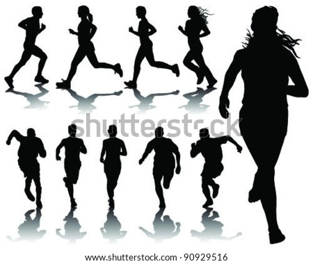 running silhouettes with shadows-vector - stock vector