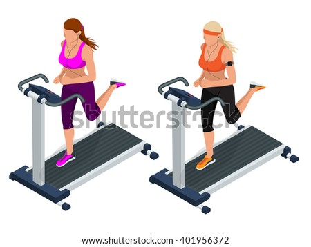 Running simulator,  Woman running, runner, running gym,  jogging,  running shoes,  girl running,  fitness  marathon running icon, girl jogging isometric, running vector, running isolated, running race - stock vector
