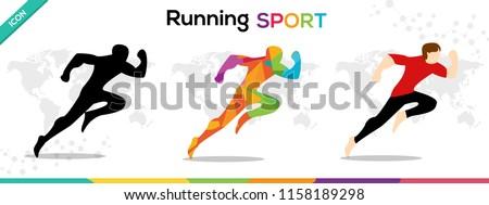 Running Sports Man icon Character Vector illustration