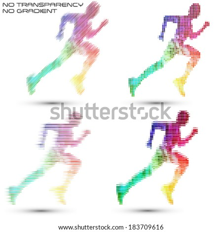 Running sportsman, pixel work vector illustrations - stock vector