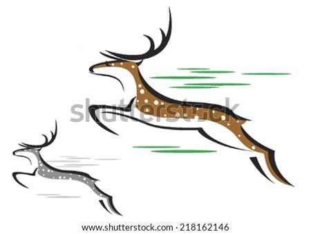 Running Spotted Deer - stock vector