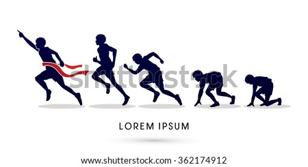 Running step, Never Give up graphic vector. - stock vector