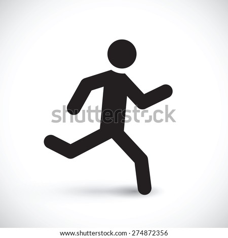 running stick man - stock vector