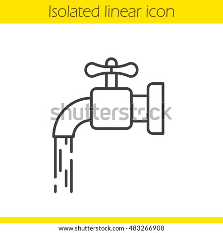 Running Tap Water Linear Icon Thin Stock Vector 483266908 ...