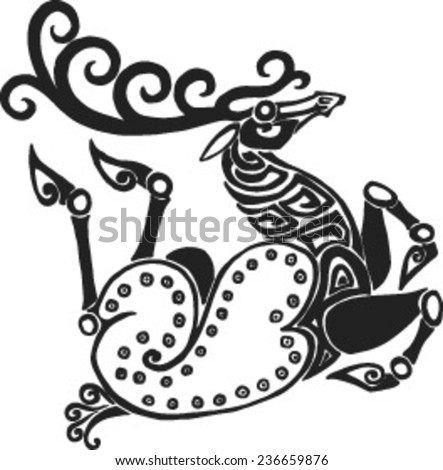 running twisted a deer in style of Scythian tattoos - stock vector