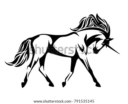 Running unicorn horse black and white side view vector design