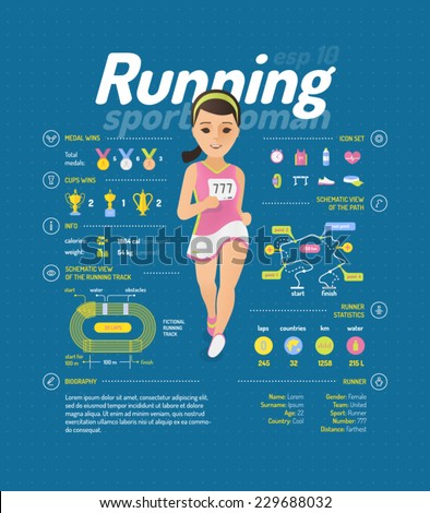 Running vector illustration - stock vector