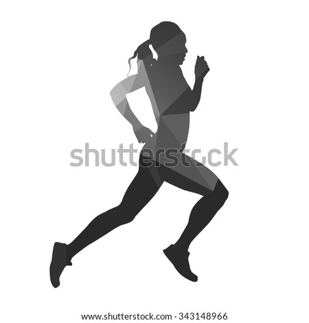 Running woman. Abstract geometric vector silhouette - stock vector