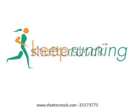 Running Woman Design Element - stock vector