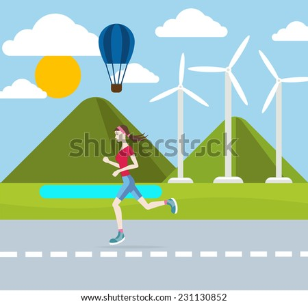 Running woman outdoors in flat design style. Jogging outdoors with wind turbines on background - stock vector