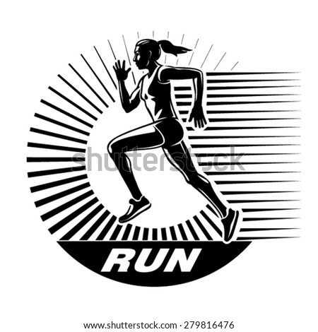 Running woman. Vector illustration in the engraving style - stock vector