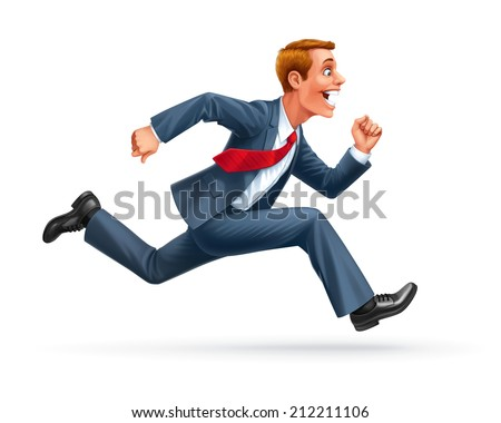 running young man businessman cartoon wow excited surprised happy amazed smile successful leader vector - stock vector