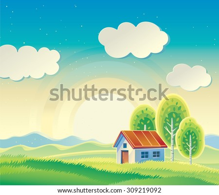 Rural hilly landscape with a house and three trees. - stock vector