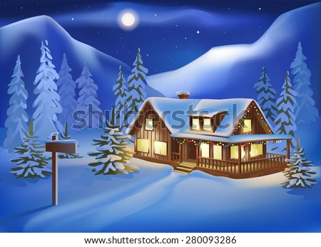 Rural house among the snow-covered hills on Christmas Eve. Night landscape.