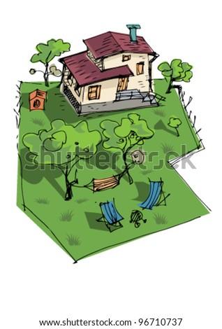 rural house - cartoon - stock vector