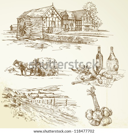rural landscape, agriculture, old watermill - hand drawn collection - stock vector