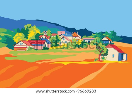 Rural landscape.All objects  are grouped separately.