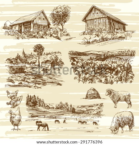 rural landscape and houses - hand drawn collection - stock vector