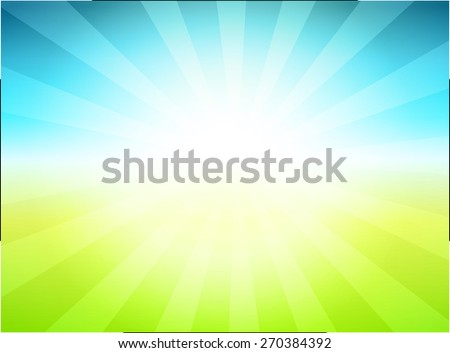 Rural Landscape Background Vector Illustration with green Meadow and blue Sky - stock vector